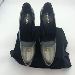 Prada sz 38.5 Ombré Black/Grey patent Leather NWT